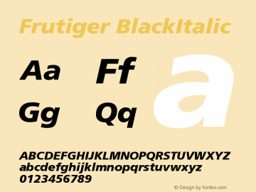 Frutiger BlackItalic Version 001.000 Font Sample