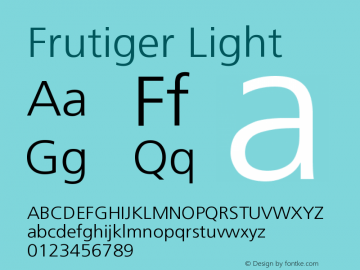 Frutiger Light Version 001.000 Font Sample