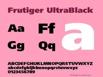 Frutiger UltraBlack Version 001.000 Font Sample