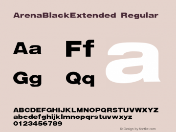 ArenaBlackExtended Regular Weatherly Systems, Inc.  1/23/93 Font Sample