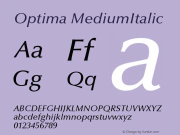 Optima MediumItalic Version 001.000 Font Sample