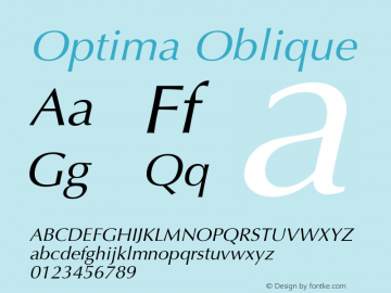 Optima Oblique Version 001.000 Font Sample