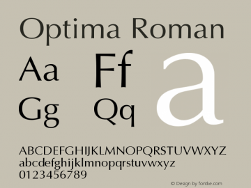 Optima Roman Version 001.000 Font Sample