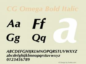 CG Omega Bold Italic Version 1.00 Font Sample
