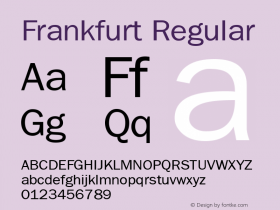 Frankfurt Regular The IMSI MasterFonts Collection, tm 1995 IMSI Font Sample