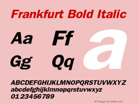 Frankfurt Bold Italic The IMSI MasterFonts Collection, tm 1995 IMSI Font Sample