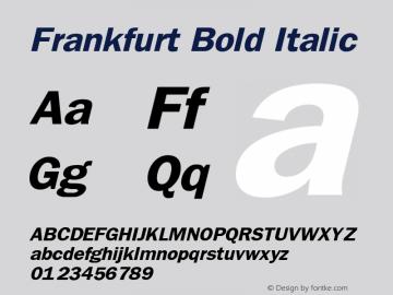 Frankfurt Bold Italic Publisher's Paradise -- Media Graphics International Inc. Font Sample