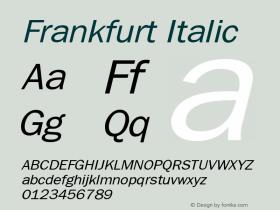 Frankfurt Italic Publisher's Paradise -- Media Graphics International Inc. Font Sample
