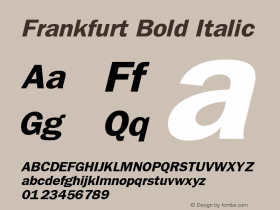 Frankfurt Bold Italic The IMSI MasterFonts Collection, tm 1995, 1996 IMSI (International Microcomputer Software Inc.) Font Sample