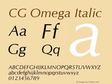CG Omega Italic Version 1.00 Font Sample