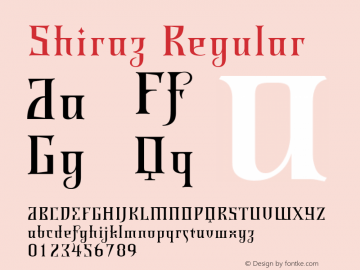 Shiraz Regular Version 001.000 Font Sample