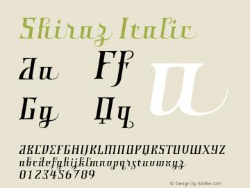 Shiraz Italic 001.000 Font Sample