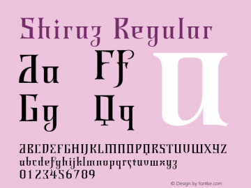 Shiraz Regular Version 1.00 Font Sample