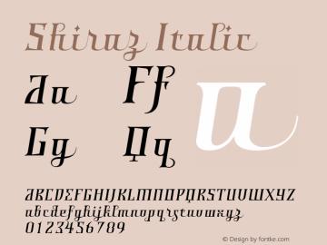 Shiraz Italic Version 001.000 Font Sample