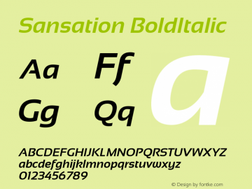 Sansation BoldItalic Version 1.301 Font Sample