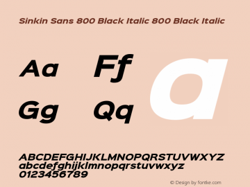 Sinkin Sans 800 Black Italic 800 Black Italic Sinkin Sans (version 1.0)  by Keith Bates   •   © 2014   www.k-type.com Font Sample