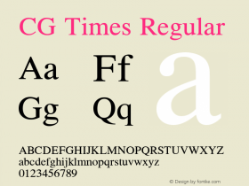CG Times Regular Version 1.00 Font Sample