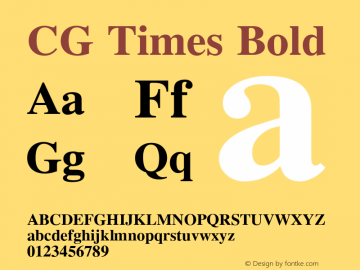 CG Times Bold Version 1.00 Font Sample