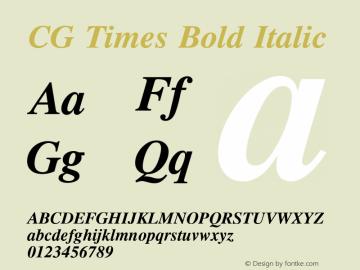 CG Times Bold Italic Version 1.00 Font Sample