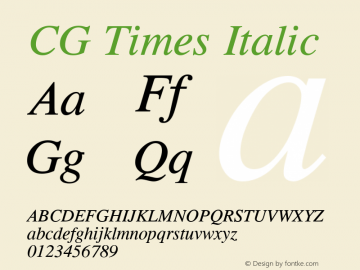 CG Times Italic Version 1.00 Font Sample