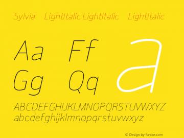Sylvia-LightItalic LightItalic-LightItalic Version 001.000 Font Sample