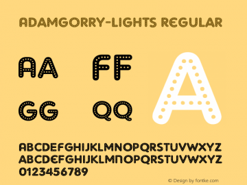 AdamGorry-Lights Regular OTF 1.000;PS 001.000;Core 1.0.29 Font Sample