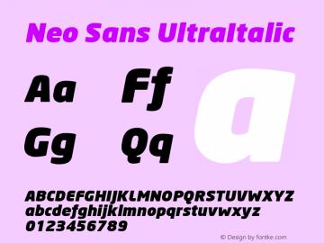 Neo Sans UltraItalic Version 001.000 Font Sample