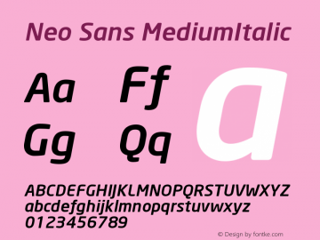 Neo Sans MediumItalic Version 001.000 Font Sample