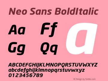 Neo Sans BoldItalic Version 001.000 Font Sample