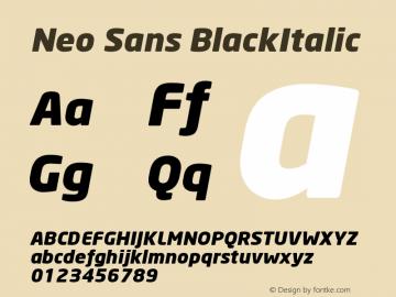 Neo Sans BlackItalic Version 001.000 Font Sample