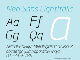 Neo Sans LightItalic Version 001.000 Font Sample