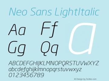 Neo Sans LightItalic Version 001.000 Font Sample