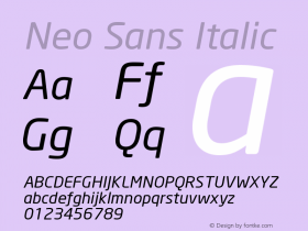 Neo Sans Italic Version 001.000 Font Sample