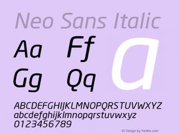 Neo Sans Italic Version 001.000 Font Sample