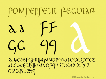 PompejiPetit Regular 1.0 2004-06-03 Font Sample