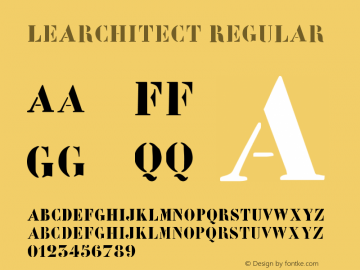 LeArchitect Regular 1.0 2004-06-06 Font Sample