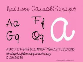 Nevison CasualScript Version 001.000 Font Sample