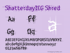 ShatterdayICG Shred Version 001.000 Font Sample