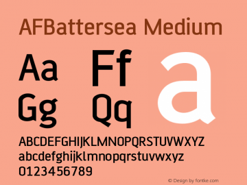 AFBattersea Medium Version 001.000 Font Sample