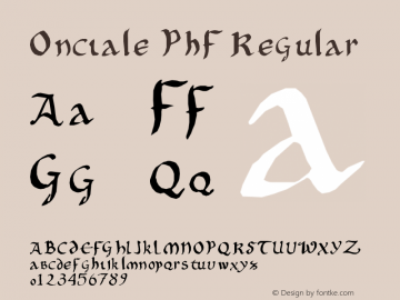 Onciale PhF Regular Version 1.02 June 15, 2004, second release Font Sample