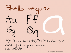 Shells regular 2002; 1.0, initial release Font Sample