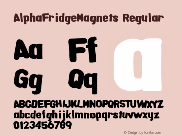AlphaFridgeMagnets Regular Macromedia Fontographer 4.1.5 6/20/04 Font Sample