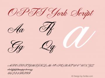 OPTIYork Script Version 001.000 Font Sample