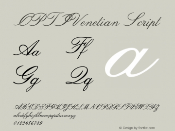 OPTIVenetian Script Version 001.000 Font Sample