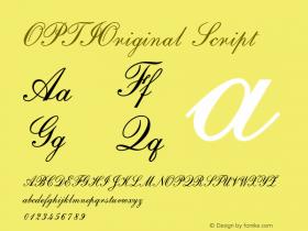 OPTIOriginal Script Version 001.000 Font Sample