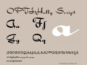 OPTIHolly Script Version 001.000 Font Sample