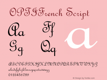 OPTIFrench Script Version 001.000 Font Sample