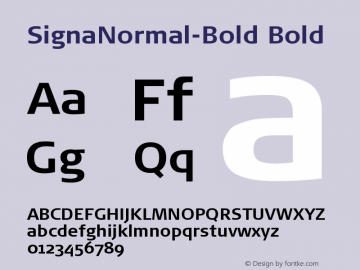 SignaNormal-Bold Bold Version 004.301 Font Sample