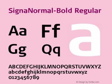 SignaNormal-Bold Regular 004.301 Font Sample
