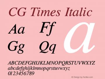 CG Times Italic Version 1.02a Font Sample